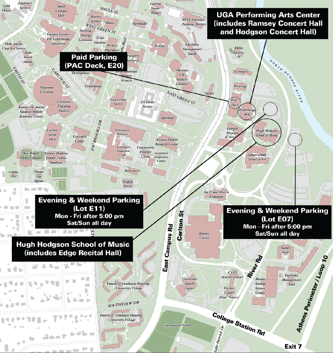 A map showing the Hodgson School's location on East Campus