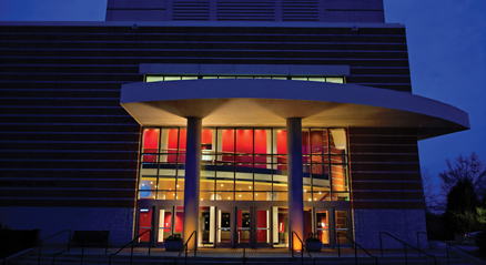 PAC exterior at night
